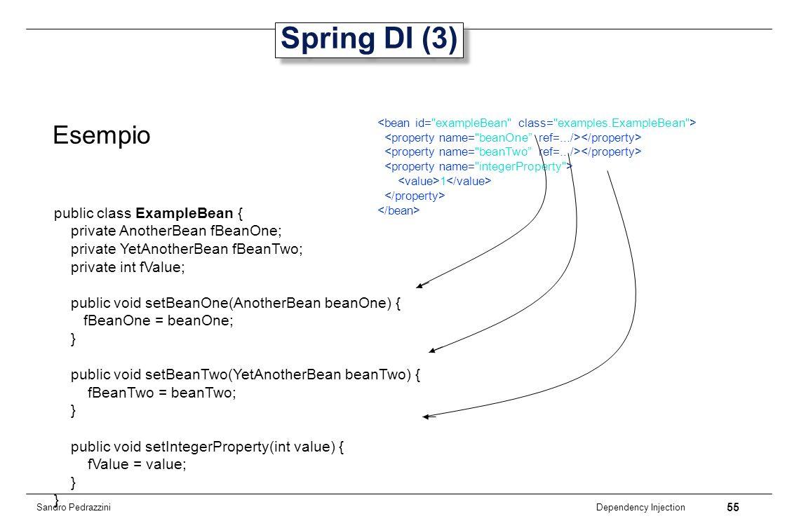 Spring DI (3) Esempio public class ExampleBean {