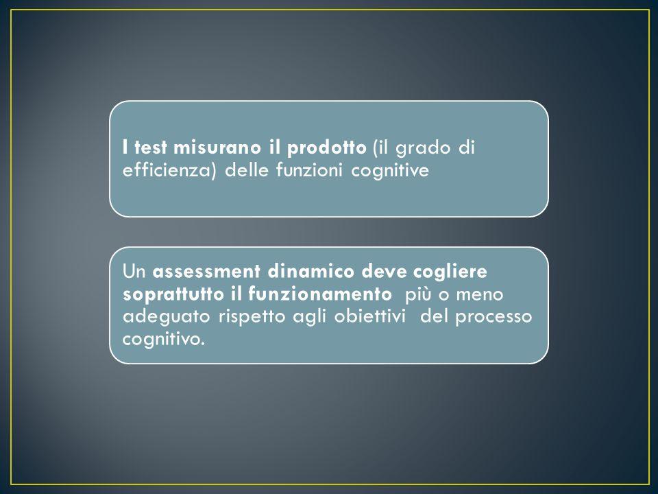 I test misurano il prodotto (il grado di efficienza) delle funzioni cognitive