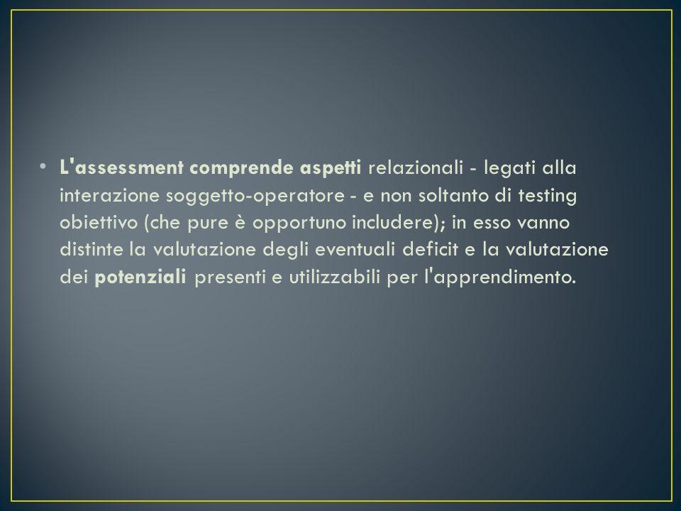 L assessment comprende aspetti relazionali - legati alla interazione soggetto-operatore - e non soltanto di testing obiettivo (che pure è opportuno includere); in esso vanno distinte la valutazione degli eventuali deficit e la valutazione dei potenziali presenti e utilizzabili per l apprendimento.