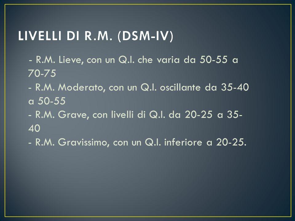 LIVELLI DI R.M. (DSM-IV)