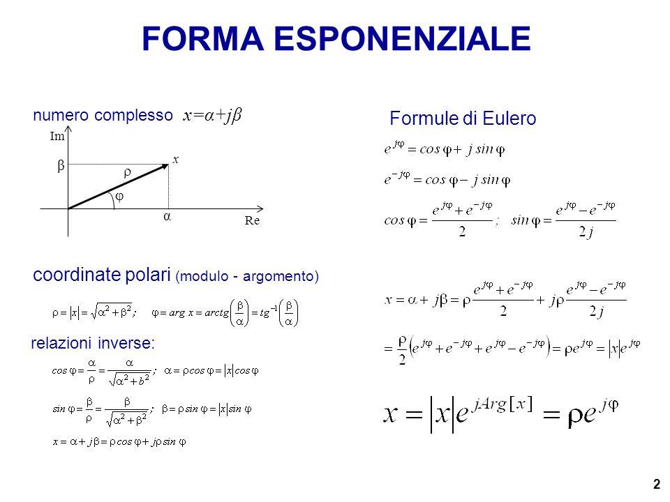 FORMA ESPONENZIALE Formule di Eulero