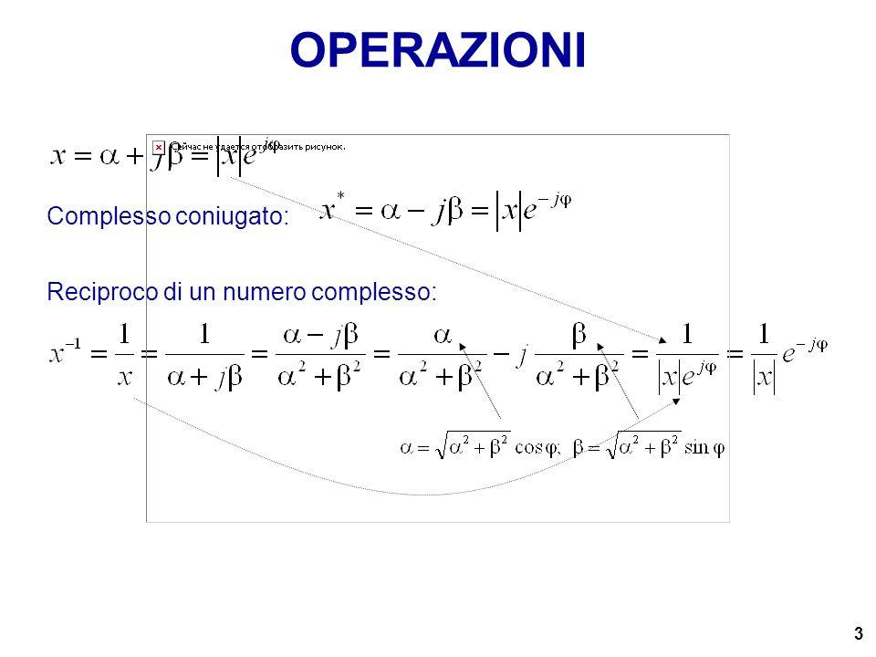 OPERAZIONI Complesso coniugato: Reciproco di un numero complesso: