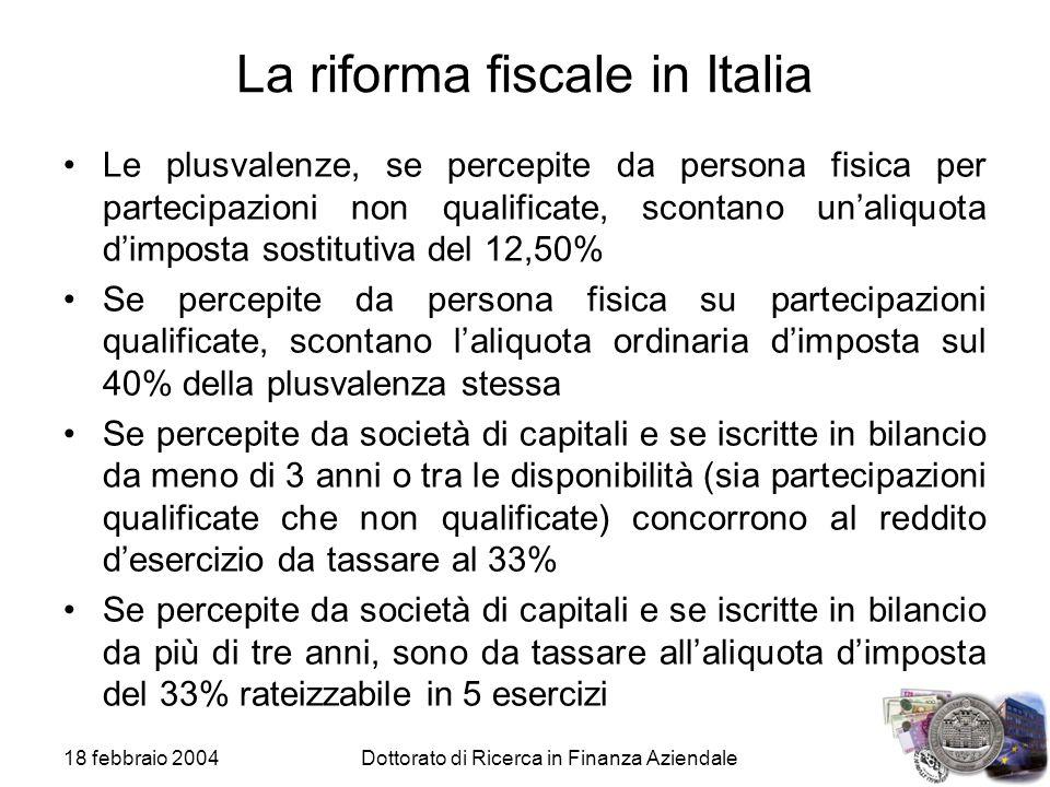 La riforma fiscale in Italia