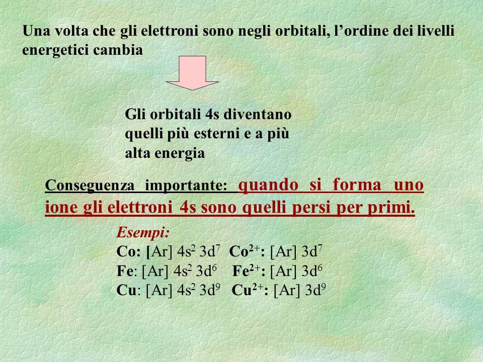 Una volta che gli elettroni sono negli orbitali, l'ordine dei livelli energetici cambia