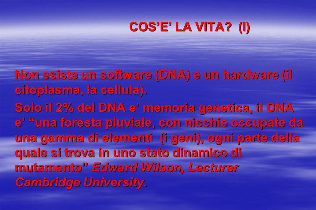 COS'E' LA VITA (I) Non esiste un software (DNA) e un hardware (il citoplasma, la cellula).