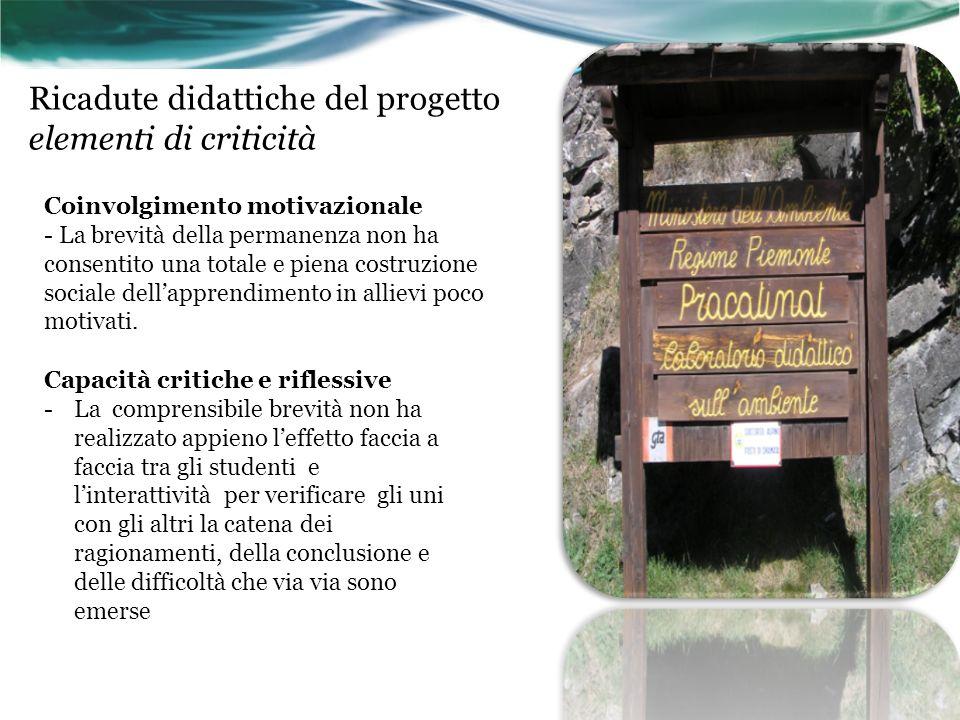 Ricadute didattiche del progetto elementi di criticità
