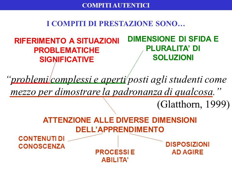 COMPITI AUTENTICI I COMPITI DI PRESTAZIONE SONO… DIMENSIONE DI SFIDA E PLURALITA' DI SOLUZIONI.