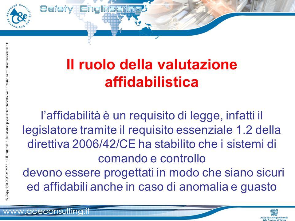 Il ruolo della valutazione affidabilistica l'affidabilità è un requisito di legge, infatti il legislatore tramite il requisito essenziale 1.2 della direttiva 2006/42/CE ha stabilito che i sistemi di comando e controllo devono essere progettati in modo che siano sicuri ed affidabili anche in caso di anomalia e guasto