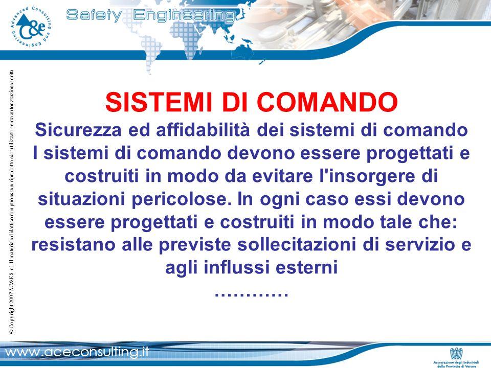 SISTEMI DI COMANDO Sicurezza ed affidabilità dei sistemi di comando I sistemi di comando devono essere progettati e costruiti in modo da evitare l insorgere di situazioni pericolose.