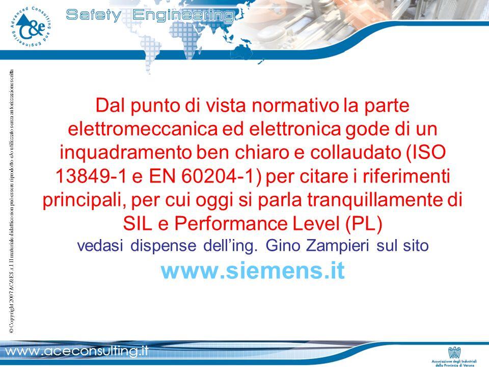 Dal punto di vista normativo la parte elettromeccanica ed elettronica gode di un inquadramento ben chiaro e collaudato (ISO 13849-1 e EN 60204-1) per citare i riferimenti principali, per cui oggi si parla tranquillamente di SIL e Performance Level (PL) vedasi dispense dell'ing.