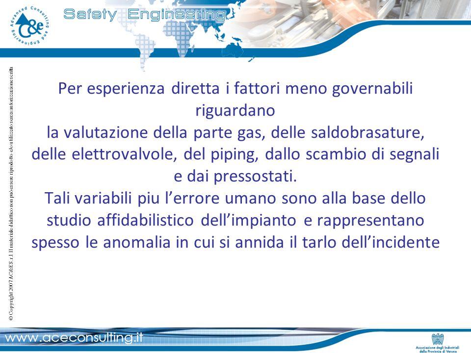 Per esperienza diretta i fattori meno governabili riguardano la valutazione della parte gas, delle saldobrasature, delle elettrovalvole, del piping, dallo scambio di segnali e dai pressostati.