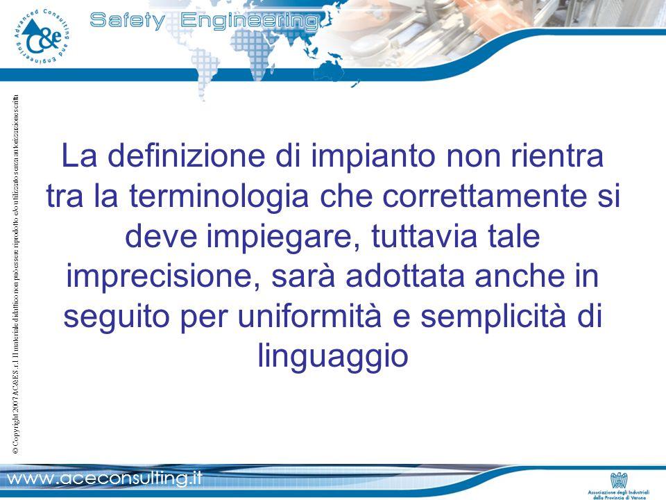 La definizione di impianto non rientra tra la terminologia che correttamente si deve impiegare, tuttavia tale imprecisione, sarà adottata anche in seguito per uniformità e semplicità di linguaggio