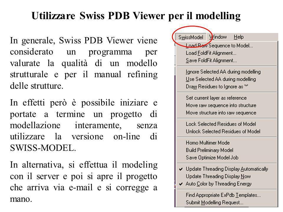 Utilizzare Swiss PDB Viewer per il modelling