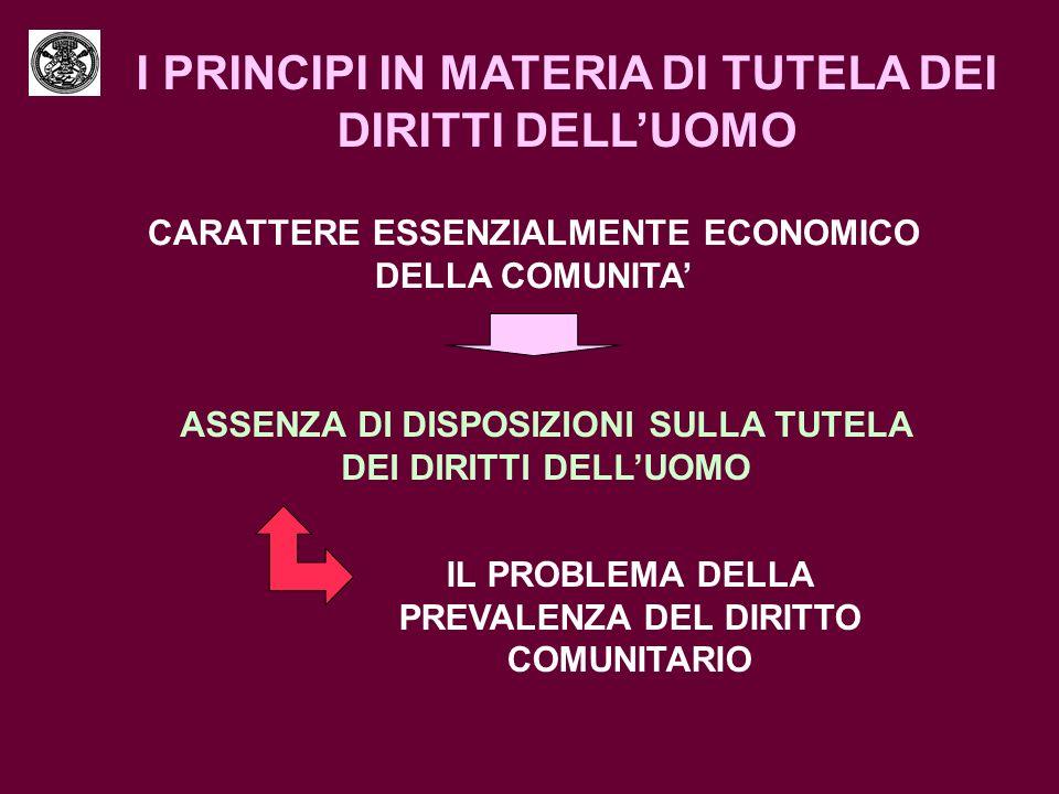 I PRINCIPI IN MATERIA DI TUTELA DEI DIRITTI DELL'UOMO