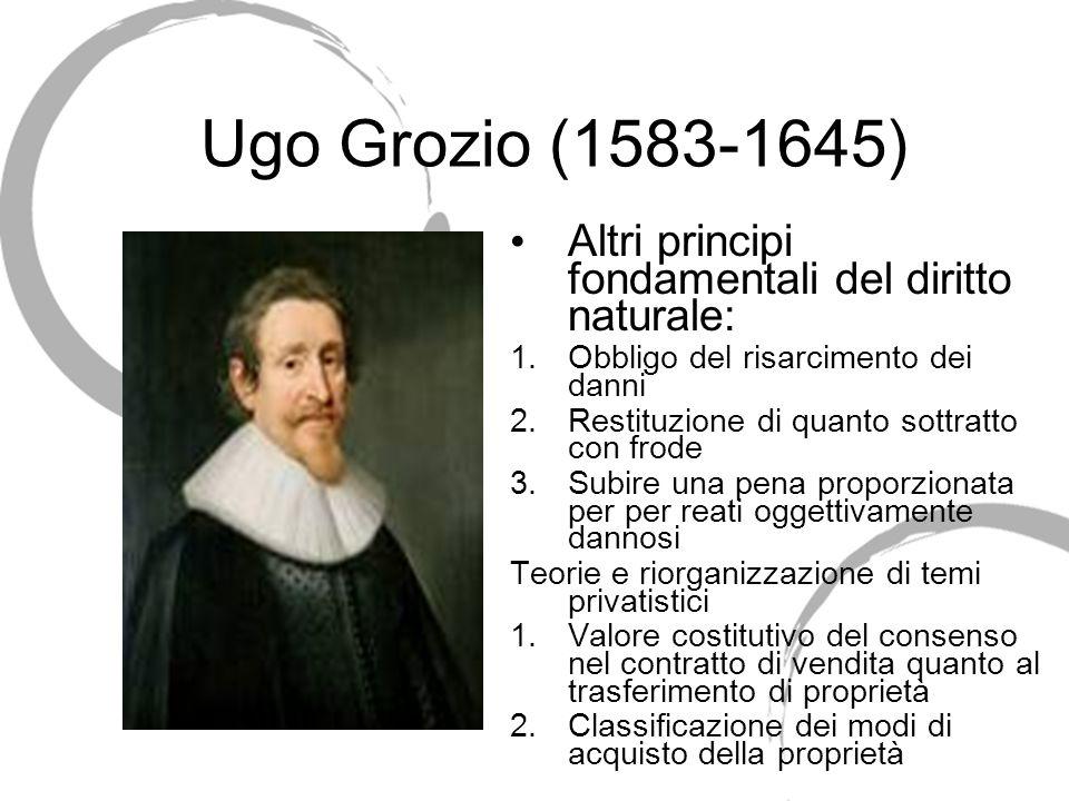 Ugo Grozio (1583-1645) Altri principi fondamentali del diritto naturale: Obbligo del risarcimento dei danni.