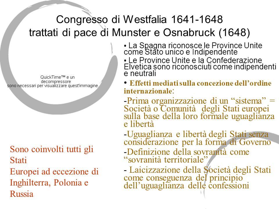Congresso di Westfalia 1641-1648 trattati di pace di Munster e Osnabruck (1648)