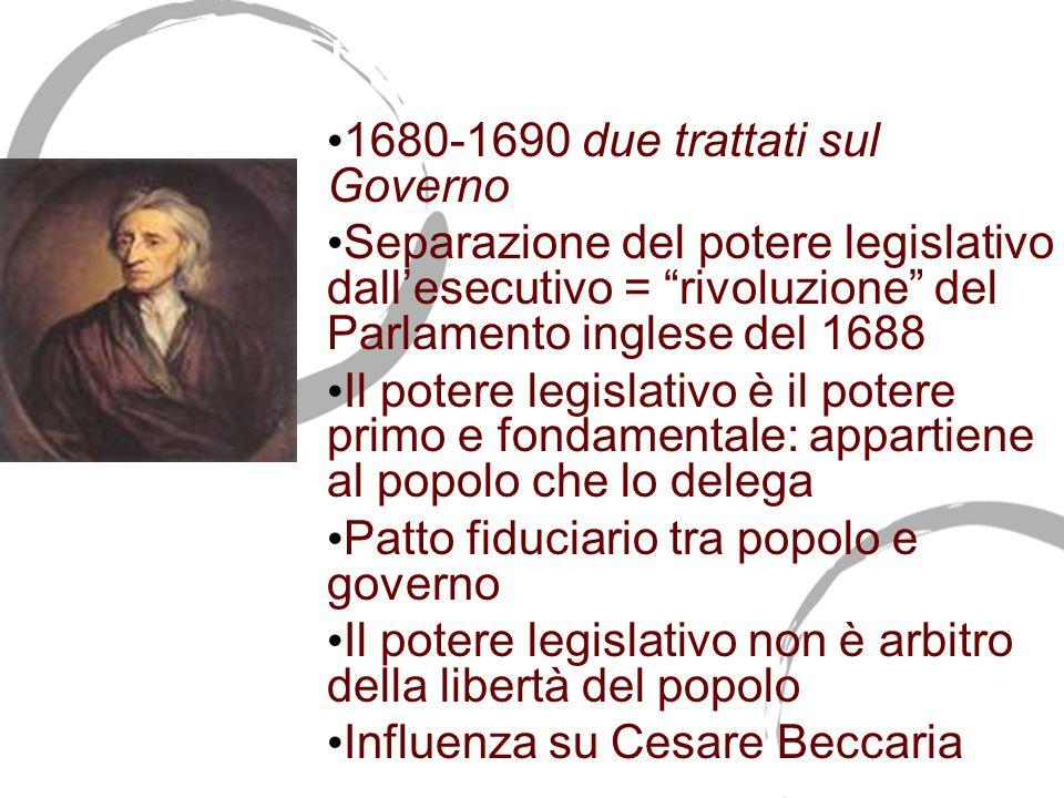 John Locke (1632-1704) 1680-1690 due trattati sul Governo