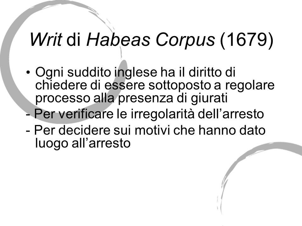 Writ di Habeas Corpus (1679)