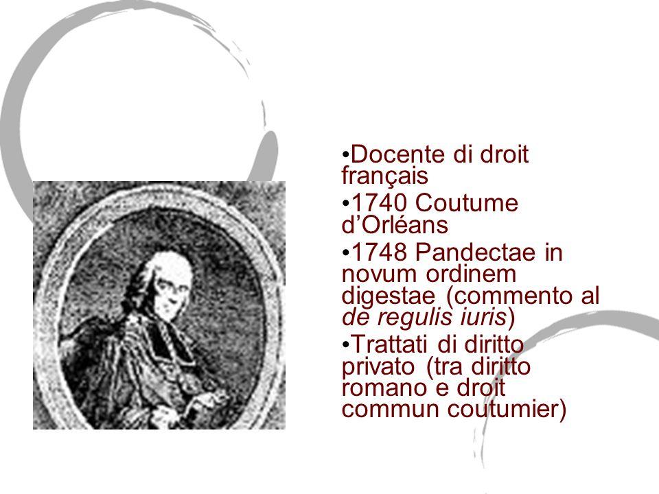 Joseph Pothier (1699-1772) Docente di droit français