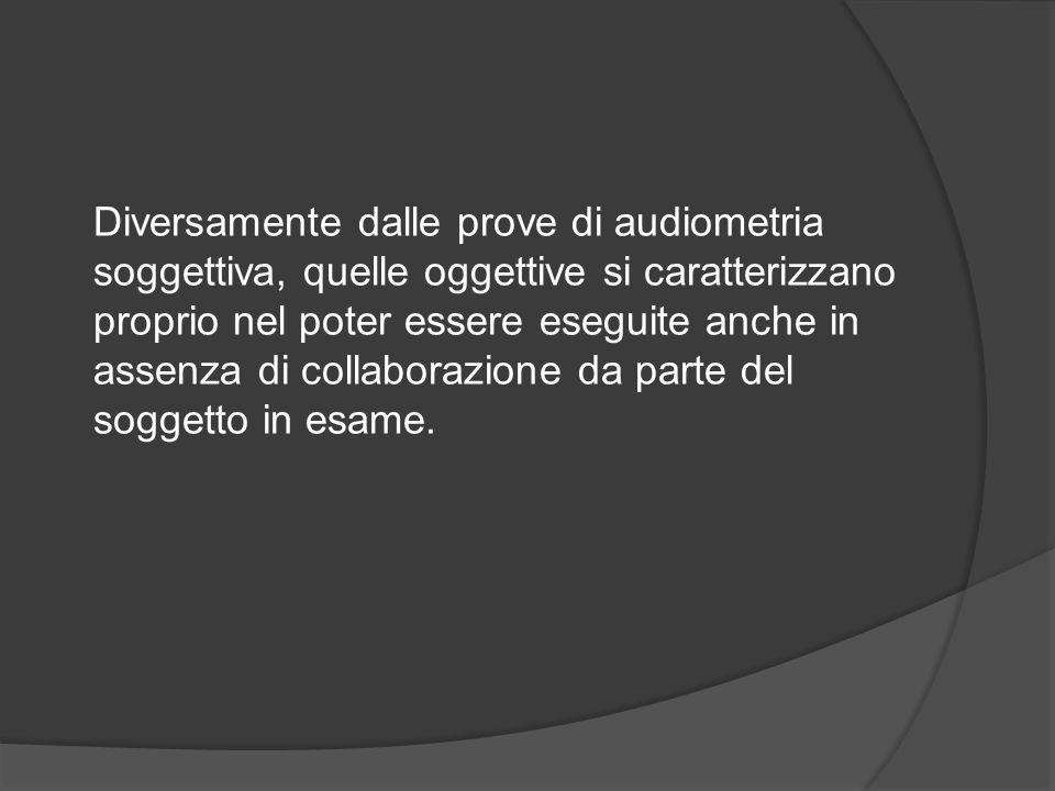Diversamente dalle prove di audiometria soggettiva, quelle oggettive si caratterizzano proprio nel poter essere eseguite anche in assenza di collaborazione da parte del soggetto in esame.