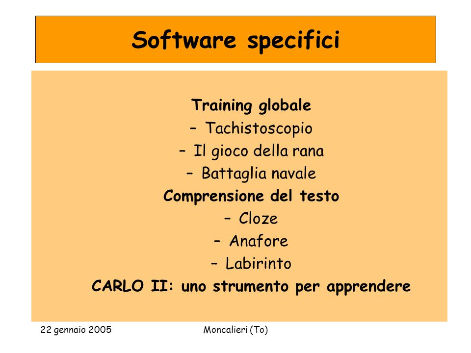 Software specifici Training globale Tachistoscopio Il gioco della rana