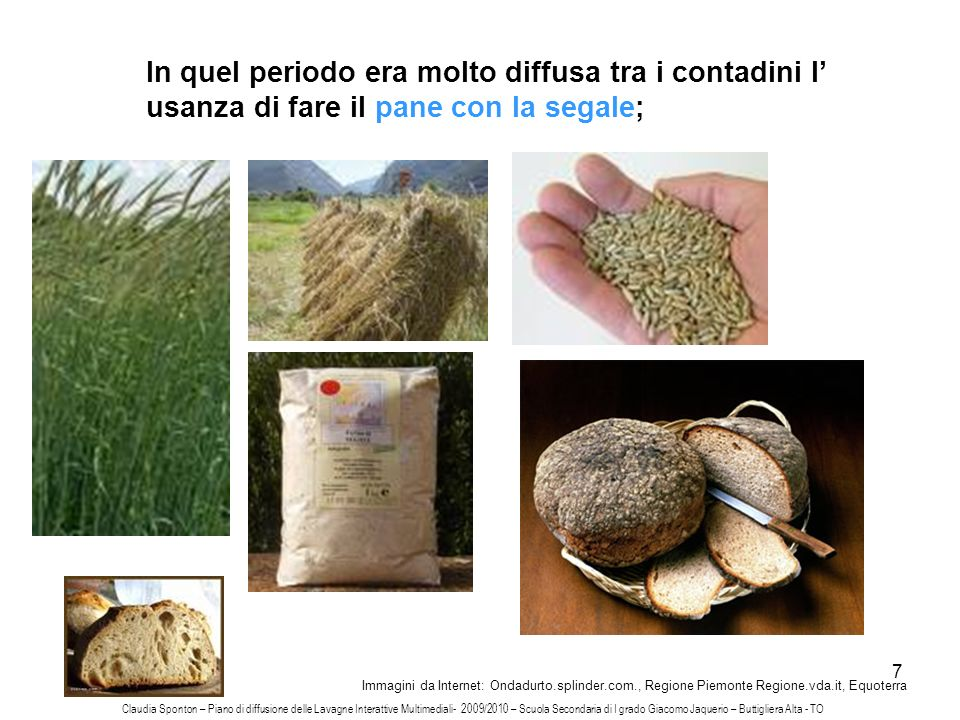 In quel periodo era molto diffusa tra i contadini l' usanza di fare il pane con la segale;