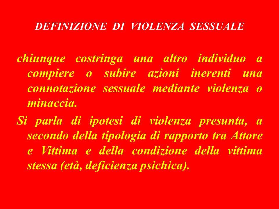 DEFINIZIONE DI VIOLENZA SESSUALE
