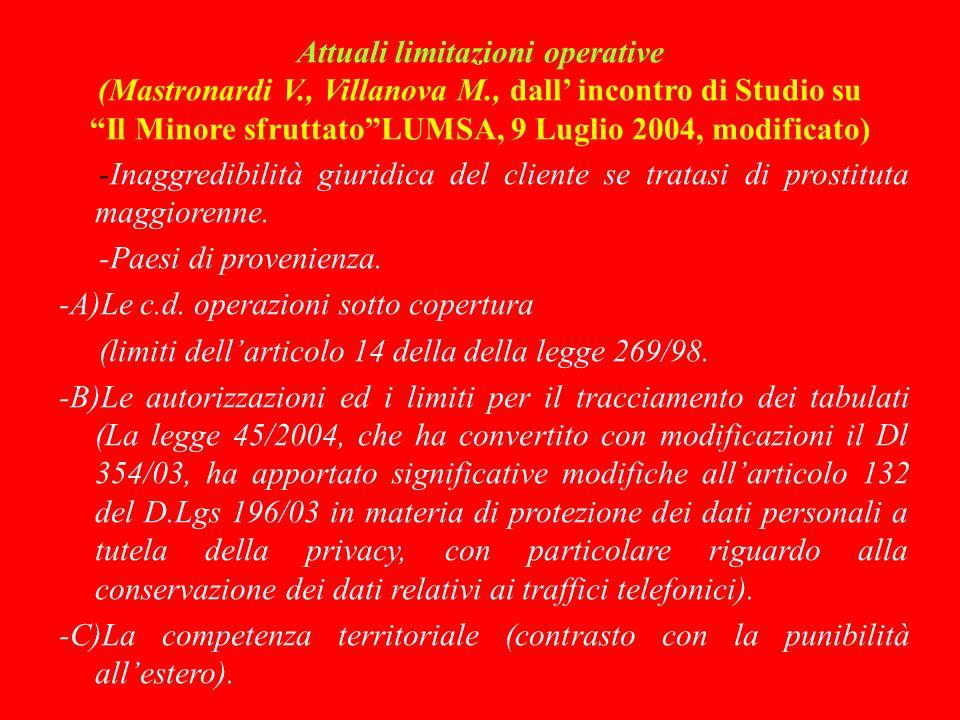 Attuali limitazioni operative (Mastronardi V. , Villanova M