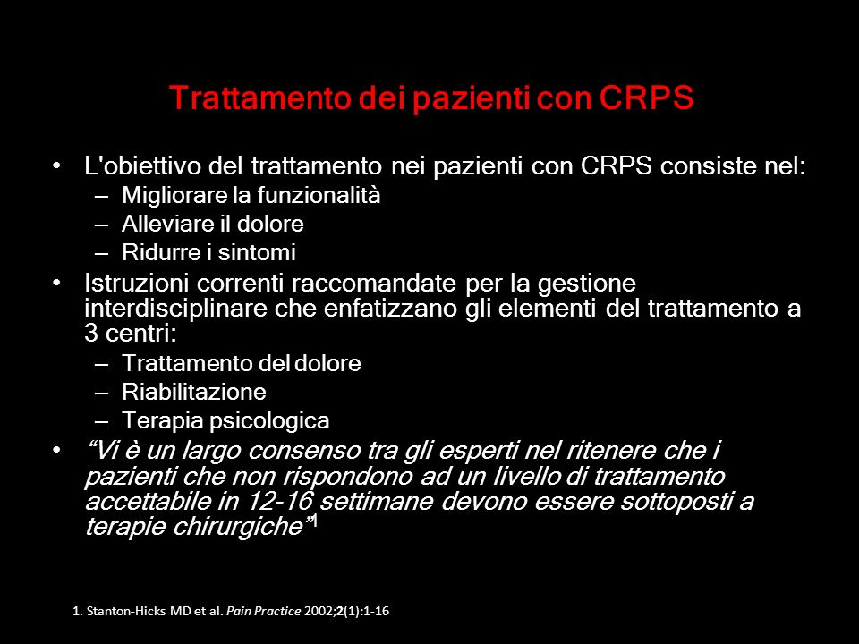 Trattamento dei pazienti con CRPS