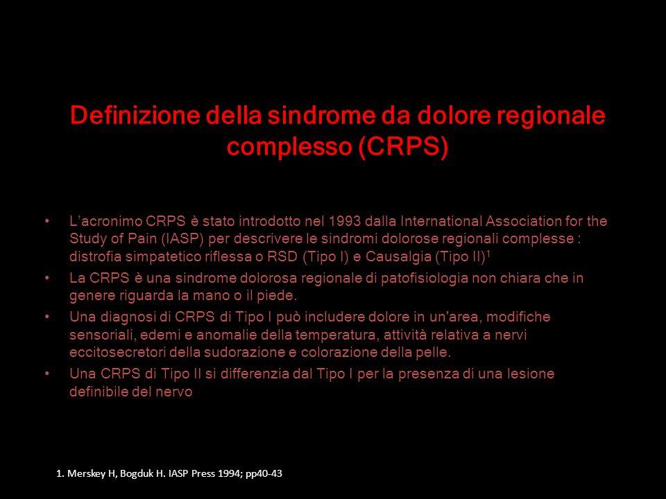 Definizione della sindrome da dolore regionale complesso (CRPS)