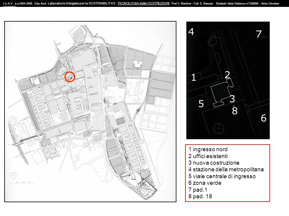 4 7 2 1 3 5 8 6 1 ingresso nord 2 uffici esistenti 3 nuova costruzione