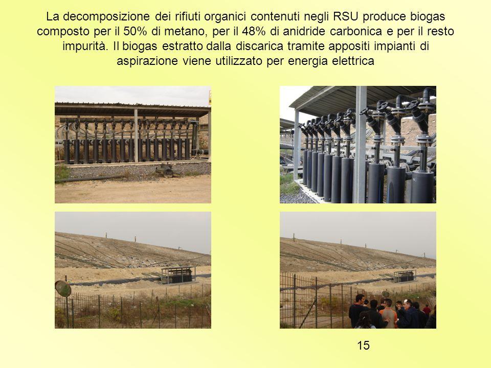 La decomposizione dei rifiuti organici contenuti negli RSU produce biogas composto per il 50% di metano, per il 48% di anidride carbonica e per il resto impurità.