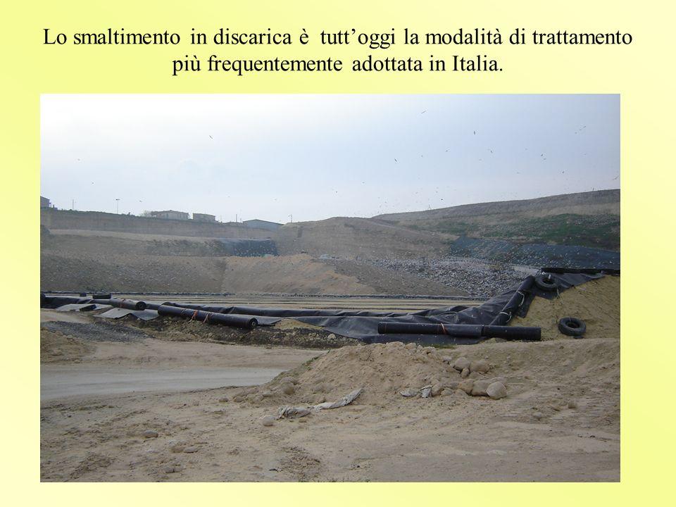 Lo smaltimento in discarica è tutt'oggi la modalità di trattamento più frequentemente adottata in Italia.