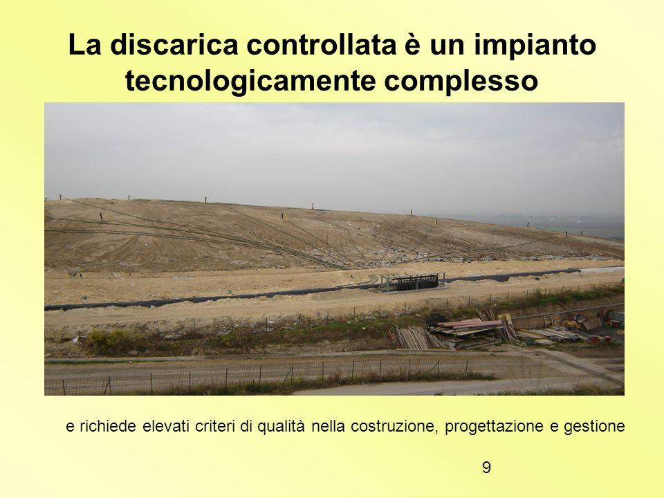 La discarica controllata è un impianto tecnologicamente complesso