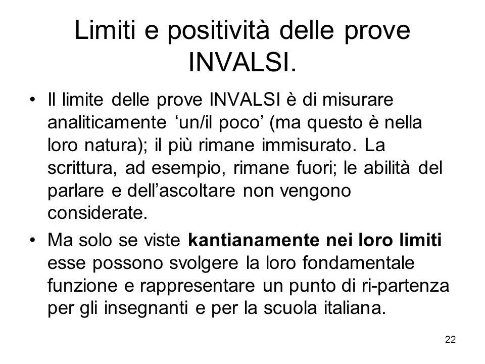 Limiti e positività delle prove INVALSI.