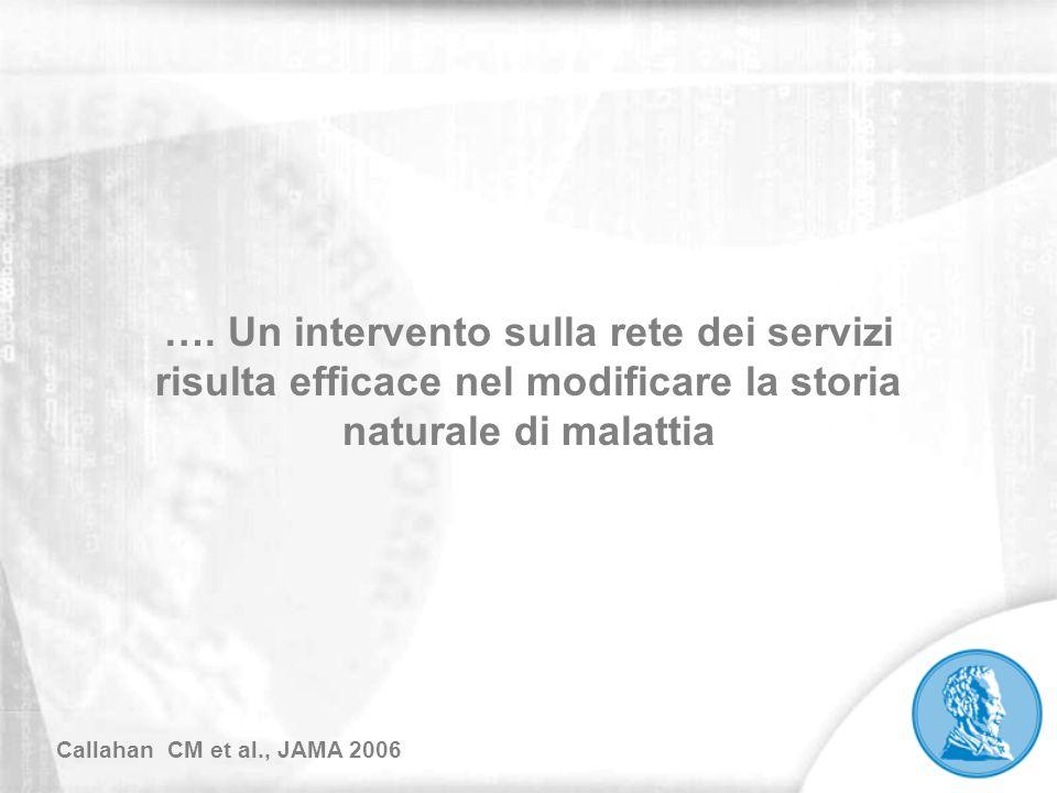 …. Un intervento sulla rete dei servizi risulta efficace nel modificare la storia naturale di malattia
