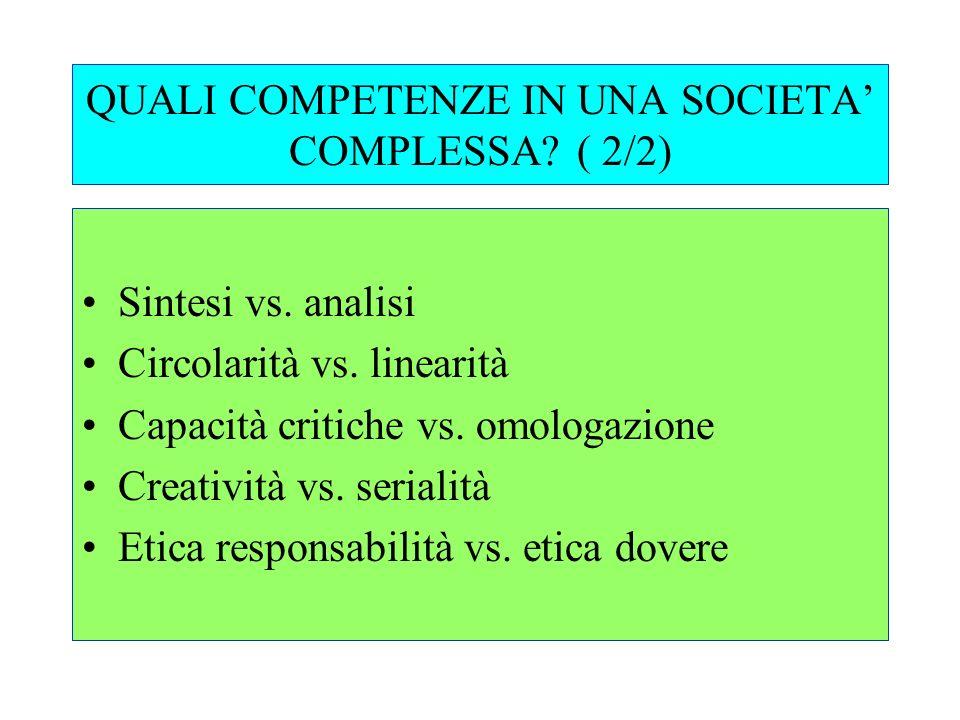 QUALI COMPETENZE IN UNA SOCIETA' COMPLESSA ( 2/2)