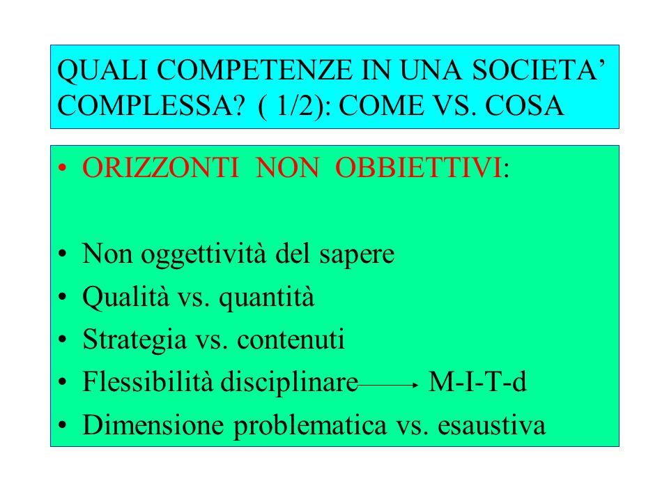 QUALI COMPETENZE IN UNA SOCIETA' COMPLESSA ( 1/2): COME VS. COSA
