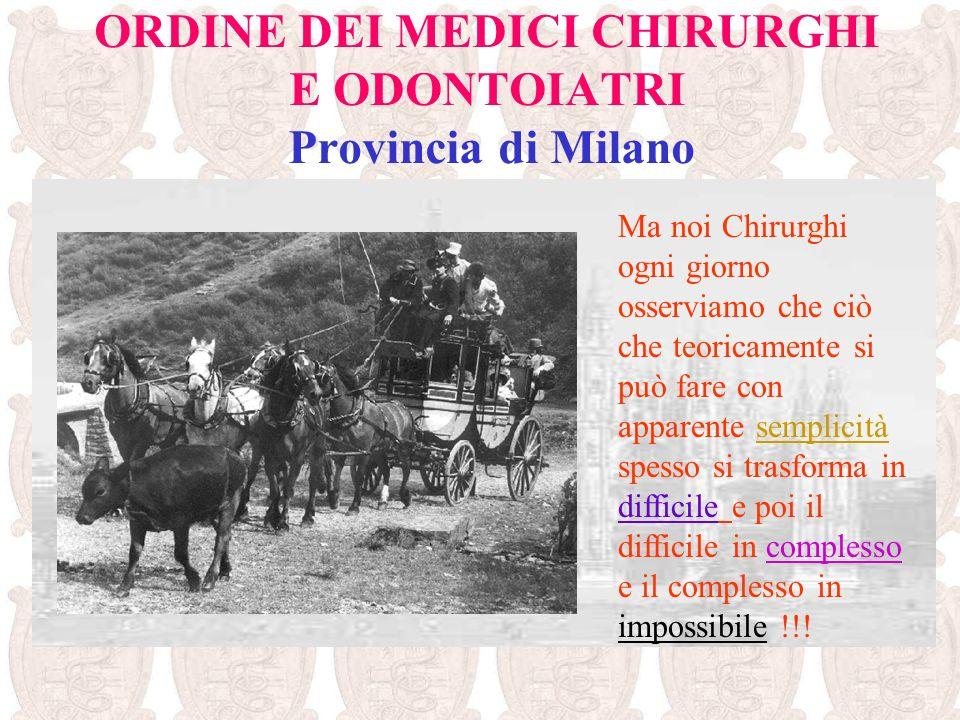 ORDINE DEI MEDICI CHIRURGHI E ODONTOIATRI Provincia di Milano