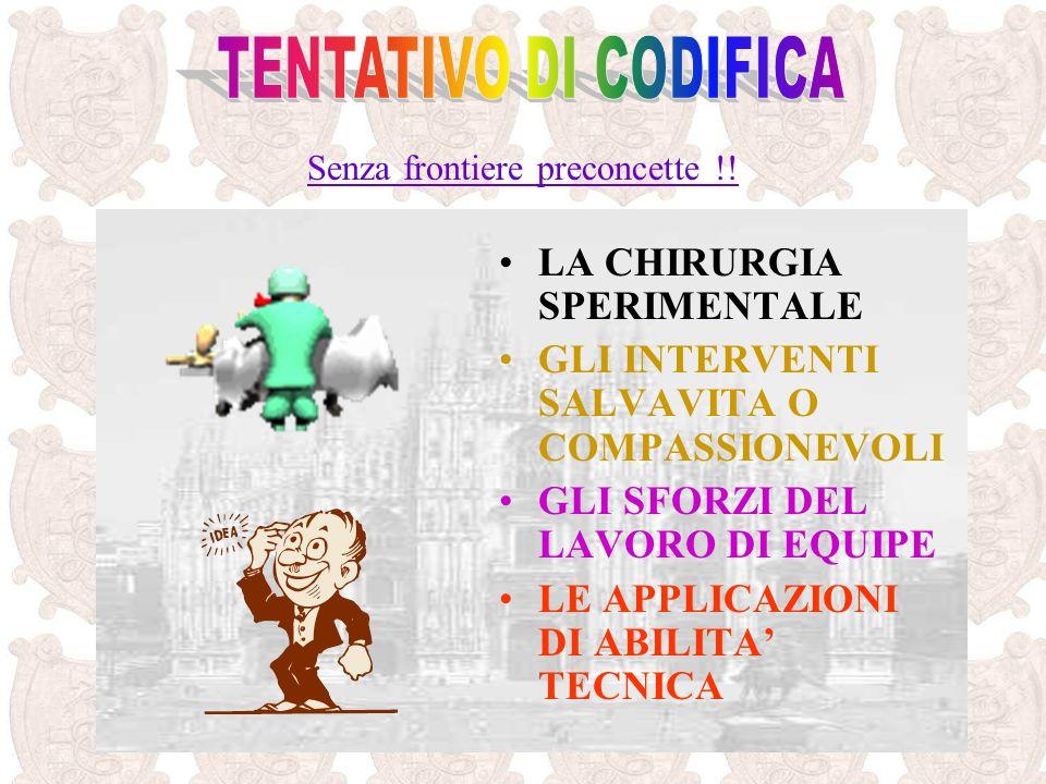 TENTATIVO DI CODIFICA LA CHIRURGIA SPERIMENTALE