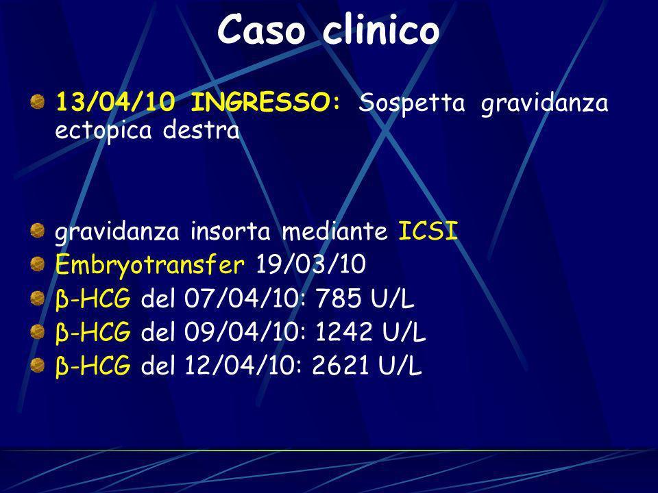 Caso clinico 13/04/10 INGRESSO: Sospetta gravidanza ectopica destra
