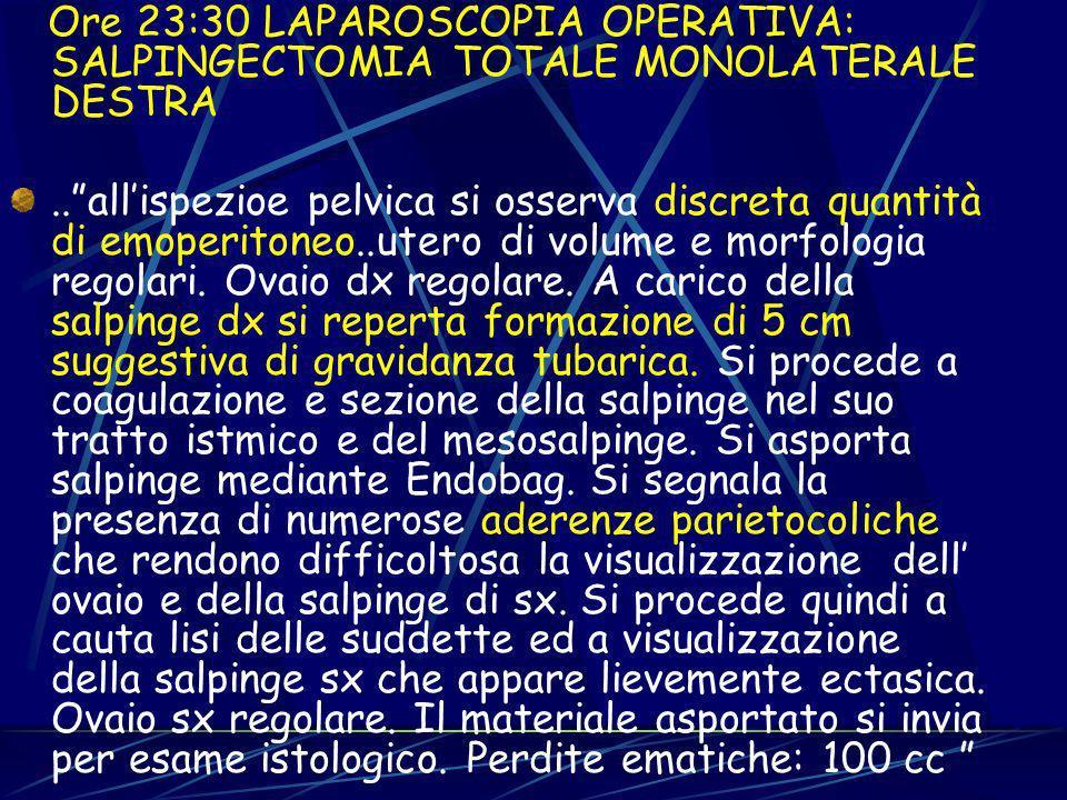 Ore 23:30 LAPAROSCOPIA OPERATIVA: SALPINGECTOMIA TOTALE MONOLATERALE DESTRA