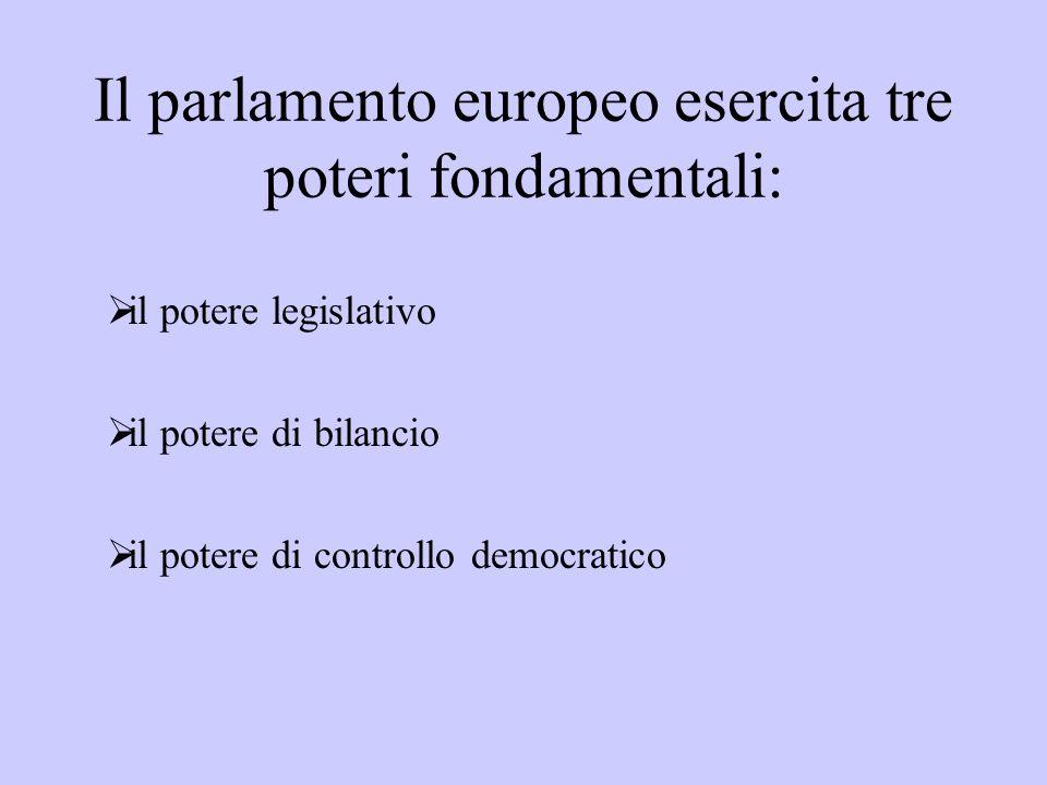 Il parlamento europeo esercita tre poteri fondamentali: