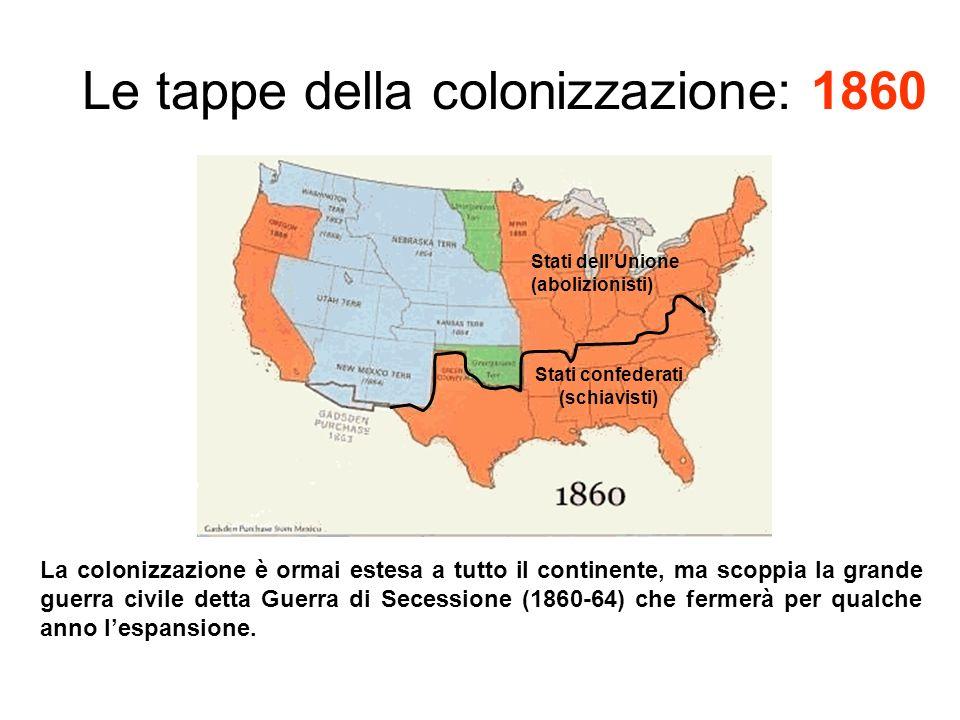 Le tappe della colonizzazione: 1860