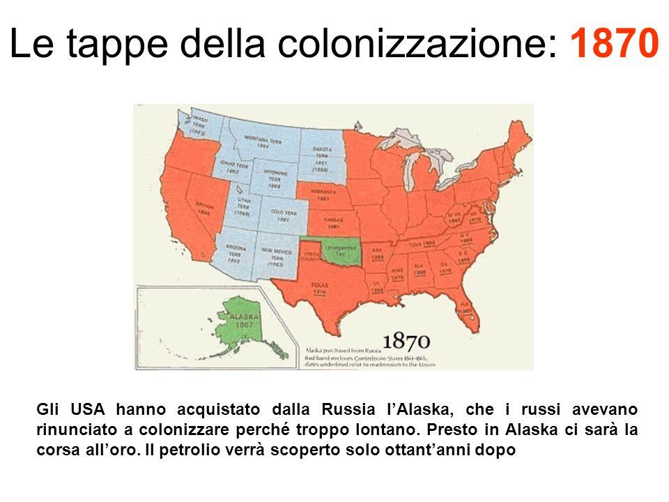 Le tappe della colonizzazione: 1870