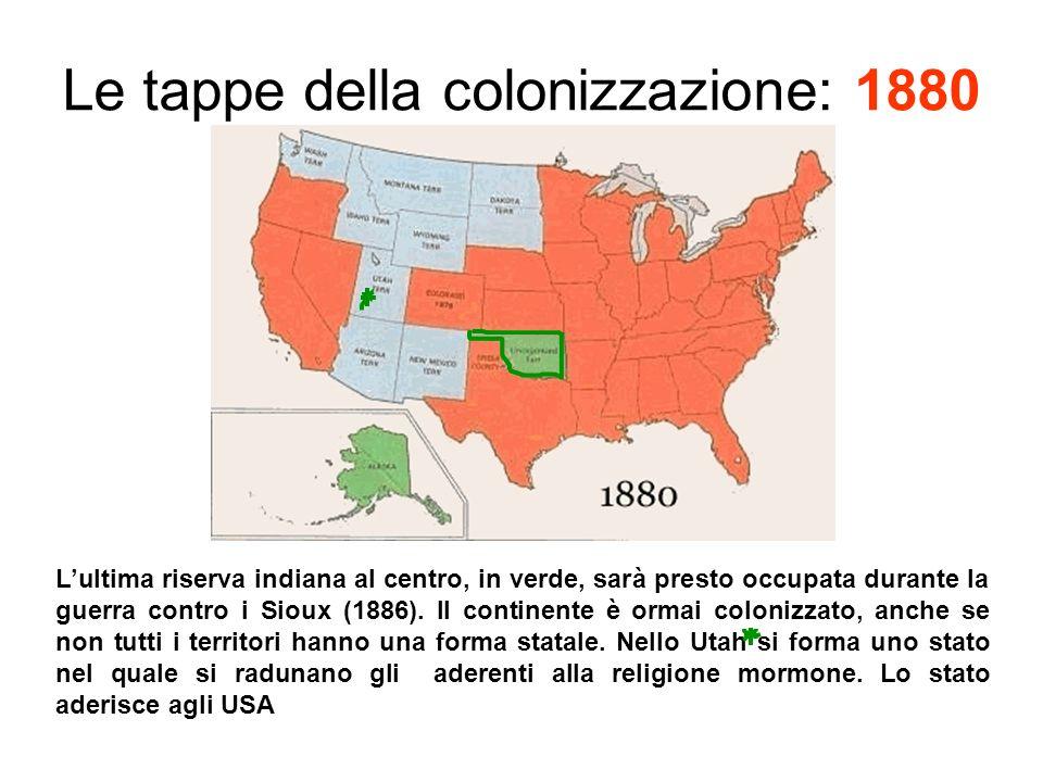 Le tappe della colonizzazione: 1880
