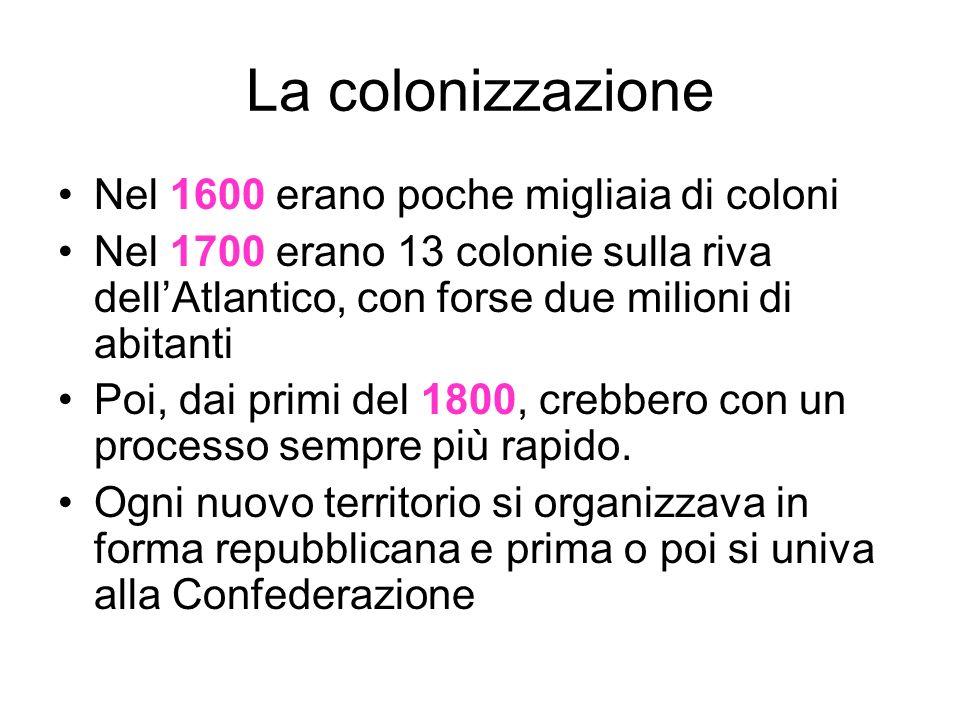 La colonizzazione Nel 1600 erano poche migliaia di coloni