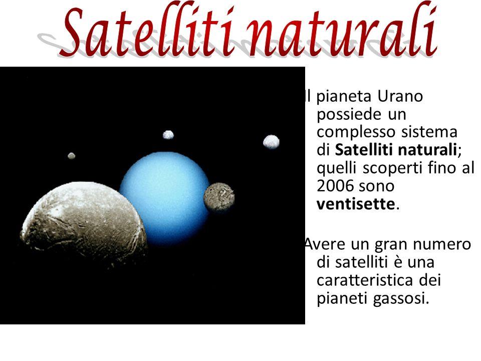 Satelliti naturali Il pianeta Urano possiede un complesso sistema di Satelliti naturali; quelli scoperti fino al 2006 sono ventisette.