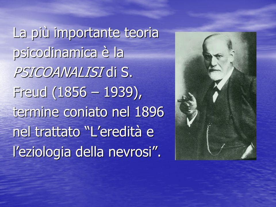 La più importante teoria psicodinamica è la PSICOANALISI di S