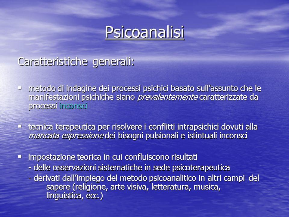 Psicoanalisi Caratteristiche generali: